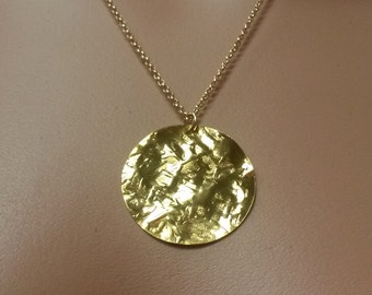 Gold Filled Hammered Disc Necklace