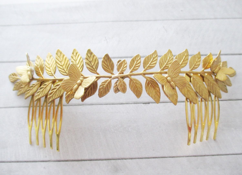 Tiara de hojas y mariposas en latón dorado , Tocado de hojas doradas , Corona , Adorno para el pelo , Accesorio mujer , Boda , Novia