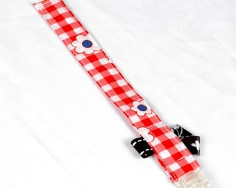 """Pacifier clip """"Flower plaid"""" - 8 inches"""