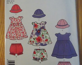 Sewing Pattern Simplicity 2425 Babies' dress, panties and hat size XS to L