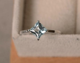 Aquamarine ring, princess cut, square, sterling silver, March birthstone