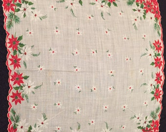 Christmas hanky/handkerchief with scalloped edges, poinsettias & holly