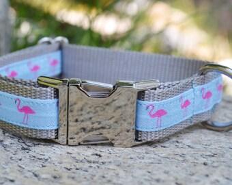 Dog Collar, Flamingo, Girl, Summer, Martingale Collar, Metal Hardware