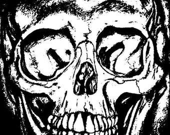 Black and white threshold skull