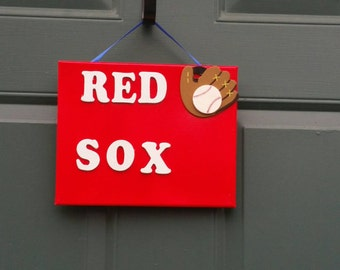 Wall hanging , red sox canvas , Boys  room