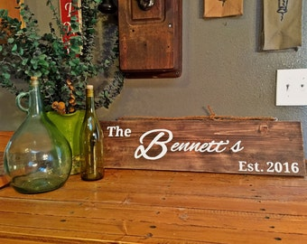 Last Name Established Date Sign - Last Name Wood Sign - Personalized Sign - Rustic - Wedding Gift - Bridal Shower - Anniversary Gift