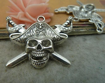 10 Large Skull and Crossbones Charms Antique Silver Tone
