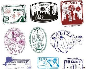 Vintage postmarked Sticker laptop stickers skateboard waterproof PVC Car sticker Russia France England