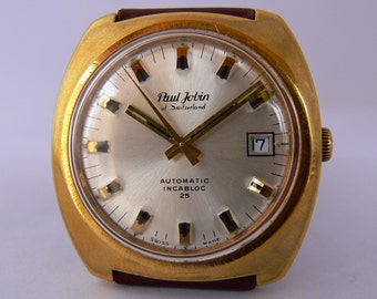 Paul Jobin of Switzerland . An automatic gents gold plated collectors watch in perfect working order with 25 jewels ETA 2783 inside .
