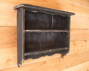 Tall black vintage shabby chic distressed handmade wall shelf old looking, Distressed wall shelf, with hooks, CEDAR