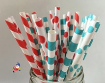 Dr Seuss Straws, Paper Straws, Cat in the Hat, birthday party, Party Decoration, Dr Seuss theme, kids party, Party Decor Dr Seuss Party, 25