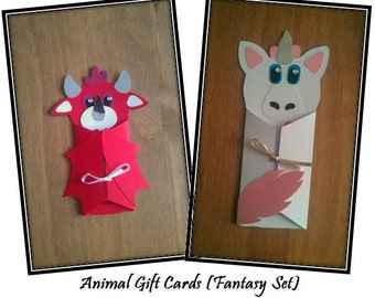 Animal Gift Cards (Fantasy) for Notes/Vouchers/Cards