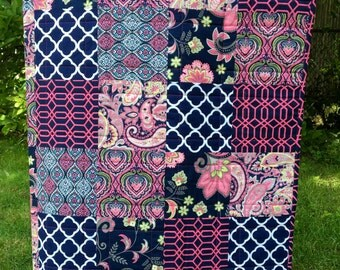 Modern baby quilt- modern toddler quilt- baby quilt blanket- homemade baby quilt- patchwork quilt- navy pink quilt- baby girl quilt for sale