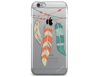 Clear iphone 7 case, clear iphone 6 case, iphone 7 plus case, clear iphone 6s plus case, clear iphone 6 plus case, clear Feathers Colored