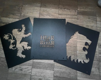 House Lannister Sigil/ Set of 3 reusable plastic Stencils Wall decor/ Game Of Thrones/ Hear me roar