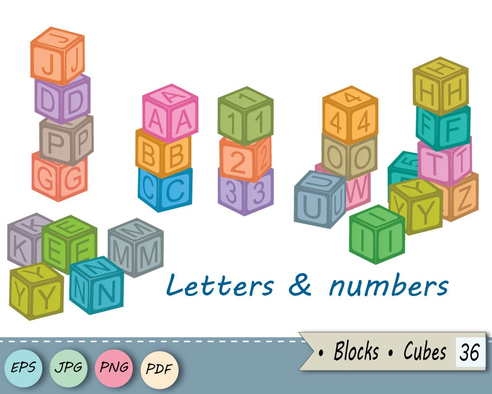 Blocks Letters And Numbers Cubes Clip Art Baby Toy Digital