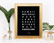 Hawaiian Islands Art Print, Tropical Wall Art, Hawaiian Wall Art, Typographic Print Wall Art, Hawaiian Decor, Tropical Wall Art, Oahu, Maui