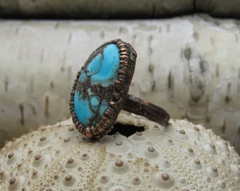 Electroformed ring with turquoise cabochon | Copper electroformed turquoise cabochon ring