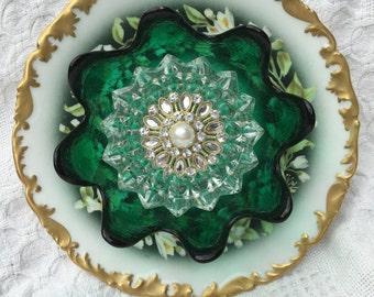 "Vintage Glass Plate Flower, ""Sweet Magnolia"""
