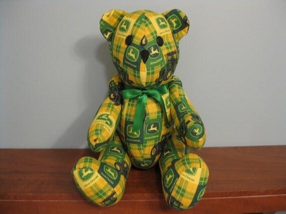 John Deere Teddy Bears : John deere bear yellow and green plaid stuffed novelty