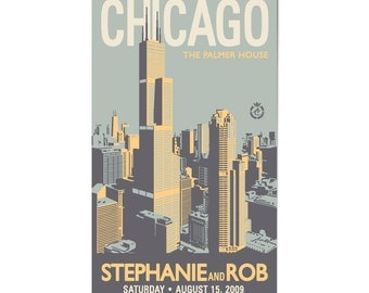 Downtown Chicago Wedding Personalized Art Save The Date Magnets (Small, 100 QTY)