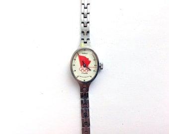 Vintage Watch, Chaika Watch, Olympic Watch, Ladies Watch, Russian Watch, Moscow Olympic Watch, mechanical watches, USSR women Watch Seagull