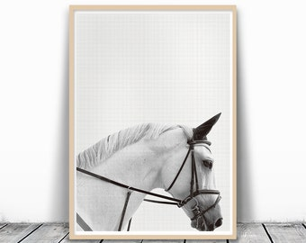 White Horse Art, Horse Print, Black and White, Equestrian poster, Horse Nursery, Southwestern poster, Horse art Print, digital download