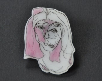 abstract face // shrink plastic pin