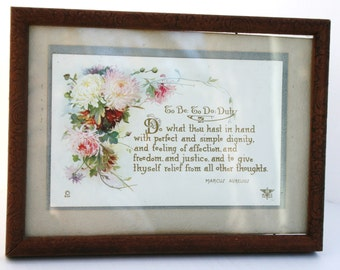 "SALE: Framed vintage litho under glass; ""Duty"" quotation Marcus Aurelius; motto; words to live by"