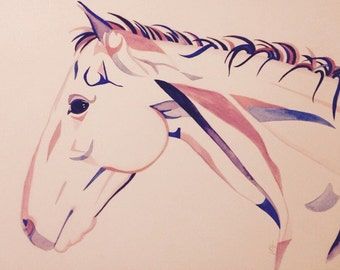 Original A2 watercolour painting of a horse