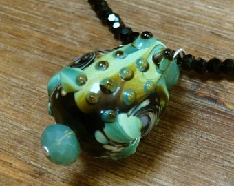 Lampwork Glass Frog Pendant on Crystal Necklace **CLEARANCE**