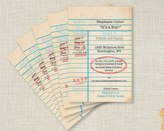 Library Card Invitations, Build A Library Invitations, For Boys, Build A Library Baby Shower Invitations -Printable Baby Shower Invitations