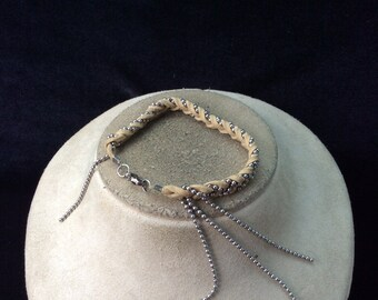 Vintage Leather Braided Beaded Chain Bracelet