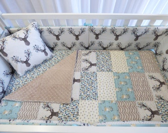Deer Bedding Set in Aspen , quilt, modern bedding, crib bedding, fawn, stag, deer, going stag, baby girl, baby