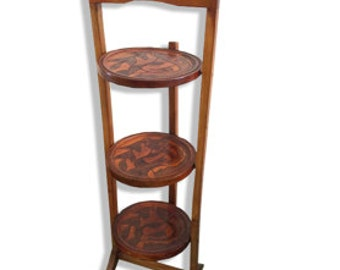 Solid wood collapsible 3 tiered stand