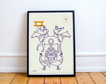 GEMINI Print! Signs of the Zodiac, Astrology, Constellation, Star Sign, Dioscuri,  Castor and Pollux