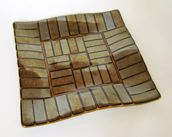 Gold Fused Glass Plate with Geometric Design