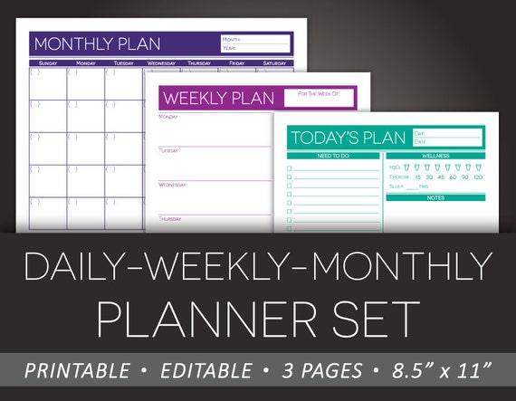 Printable Daily Weekly Monthly Planner Set Editable To-Do