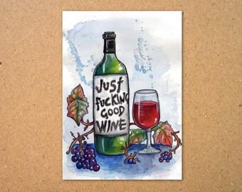 Just F'ing good Wine Print
