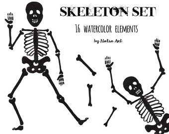 Buy 3 for 9 USD - Halloween skeleton, bone, bones, handpainted watercolor, digital clipart, INSTANT DOWNLOAD