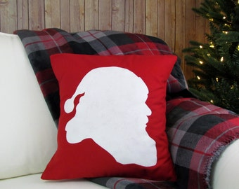 Red Sana Pillow, Christmas Decor, Santa Silhouette, Red Holiday Decor, Christmas Pillow, Santa Decor, Santa Pillow, Decorative Pillow