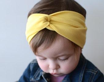 Baby Turban Headband Yellow, Twist Headband, Adult Turban Headband, Baby Headband, Girl's Turban Headband, Baby Headwrap, Twist Turban