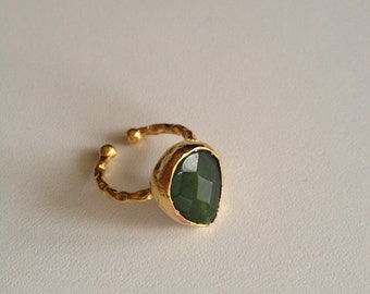 Ring, Gemstone Ring , Green Ring, Gold Filled Ring, Handmade Ring, Free Size Ring, Christmas gift, Gold Plate Ring, Gift for  Her