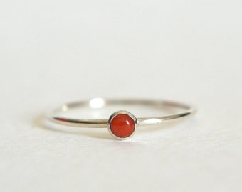 Sterling Silver Coral Ring, Silver Coral Ring, Coral Ring Silver, Stackable Ring, Stacking Ring, Dainty Ring, Simple Ring, Coral Ring