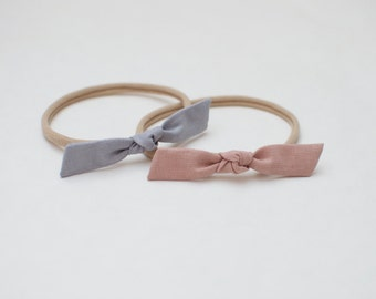 Hand Tied Girl Baby Headband Cotton Linen Rose Gray Set of two