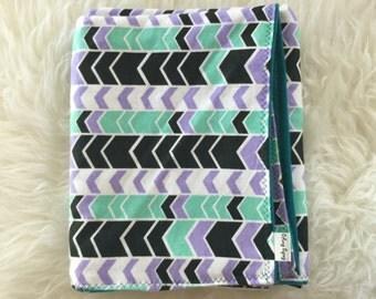 Mint green, purple, black and white chevron print swaddle blanket