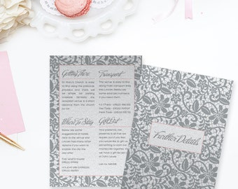 Vintage Lace Wedding Further Details Card