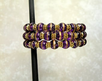 LSU Purple & Gold Memory Wire Bracelet