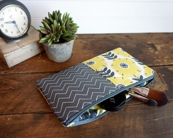 Make-up or Pencil Bag, Mustard Yellow and Grey Flowers and Chevron, Long Rectangle Make Up Bag