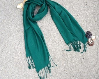 Dark Green Pashmina Shawl / Personalized Gift / Bridesmaid Monogrammed Scarves / Fashion Scarf / Pashmina Wrap / Gift for Her / Womens Scarf